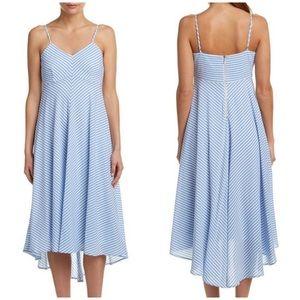 Taylor Blue/White Striped High/Low Midi Dress Sz 8